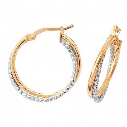 Just Gold Earrings -9Ct 2 Tone Hoop Earrings, ER935